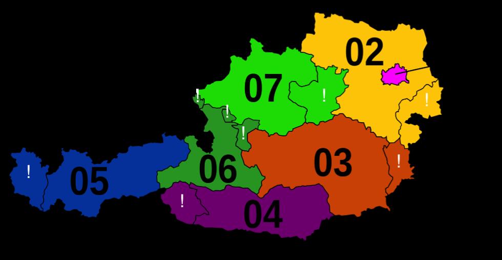 Landkarte mit Vorwahlen in Österreich
